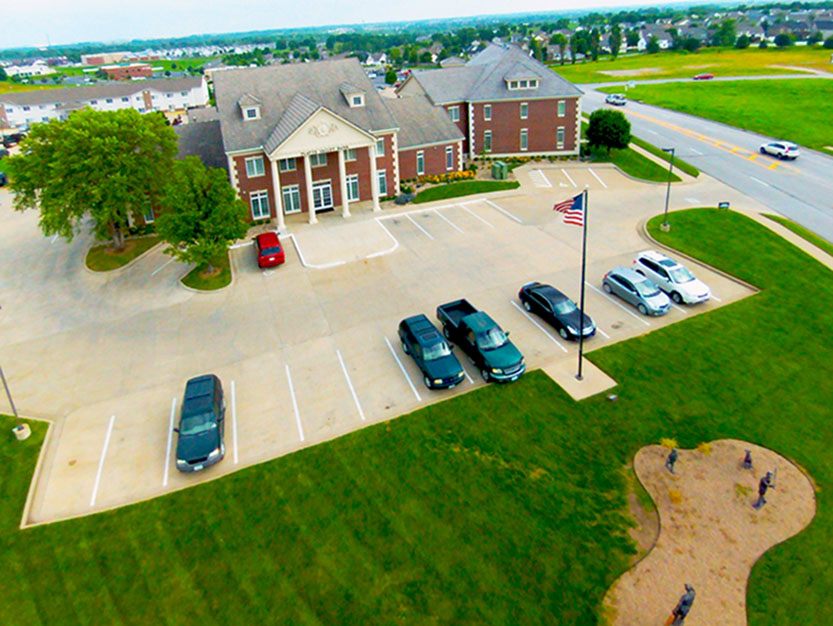 Contributed photo Mike Raymond recently took this aerial photograph of Platte Valley Bank's Platte City location using his unmanned aerial vehicle. Raymond, a Platte City resident, runs, Aerial Logic Roof Inspections or SkyCam, offering a wide arrange of services using his drone.