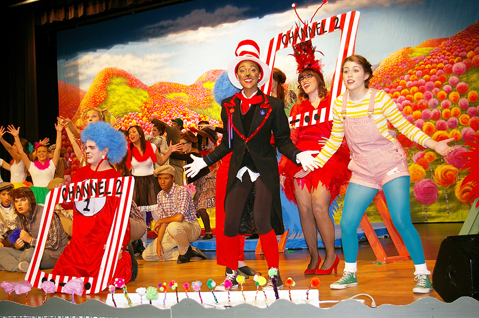 JEANETTE BROWNING FAUBION/Citizen photo Park Hill South theatre students, from left to right, Bryce Karigan, Janae Hammond, Alyse Weatherford and Mikala Petillo perform during a dress rehearsal Nov. 5 for Seussical, a musical set for production this weekend.