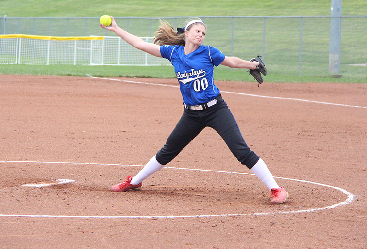 ROSS MARTIN/Citizen photo West Platte senior Abby Summers starts to deliver a pitch Sept. 11 against North Platte at Dean Park in Dearborn, Mo.
