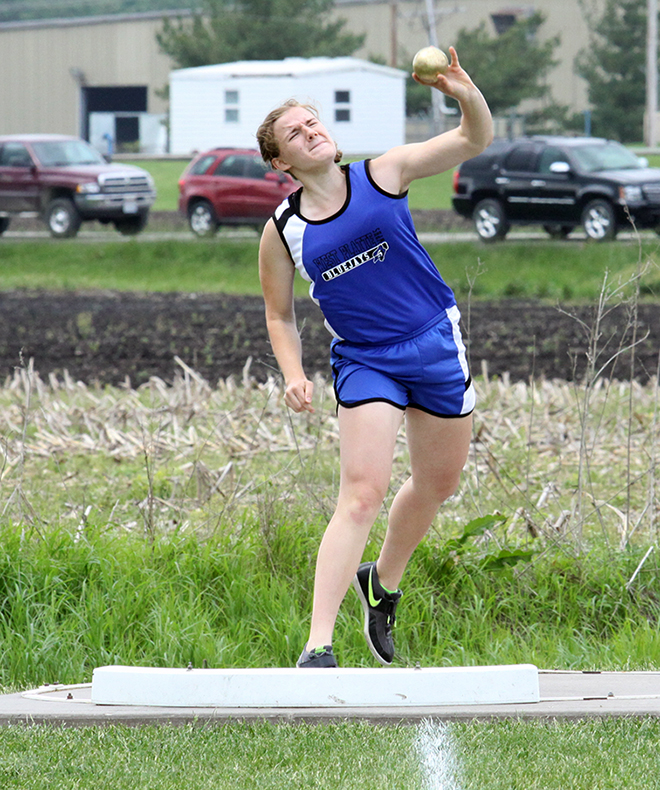 ADAM JOHNSON/Citizen photo West Platte sophomore Sydney Oberdiek heaves the shot put during the Class 2 Sectional 4 meet held Saturday, May 16 at Wayne & Doris Guess Sports Complex in Albany, Mo. Oberdiek qualified for the Missouri State Track and Field Championships in both the shot put and discus, the Bluejays' lone qualifier.