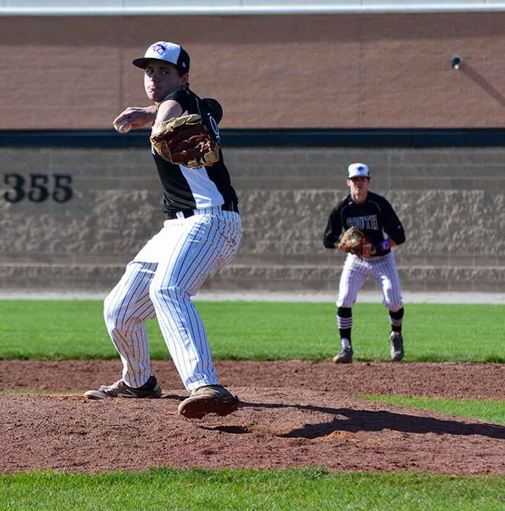 BRYCE MERENESS/Citizen photo Park Hill South pitcher Jacob Thigpen delivers a pitch in the Class 5 District 16 Championship game against Staley on Thursday, May 21 at Park Hill High School in Kansas City, Mo.