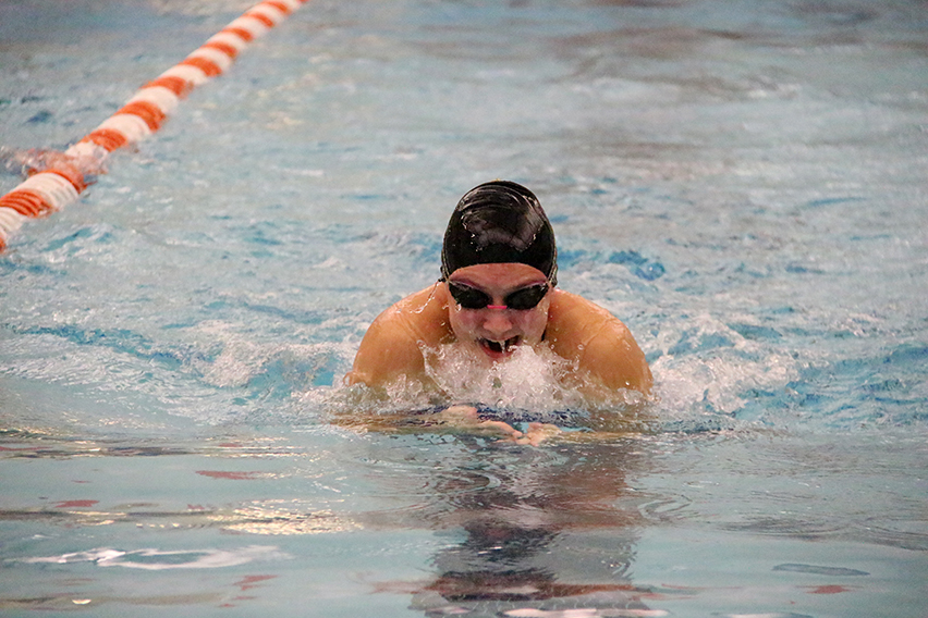 ROSS MARTIN/Citizen photo Park Hill South junior Tori Beeler competes in the 100-yard breaststroke during a meet against Platte County on Thursday, Dec. 4 at Platte County Community Center North in Platte City.