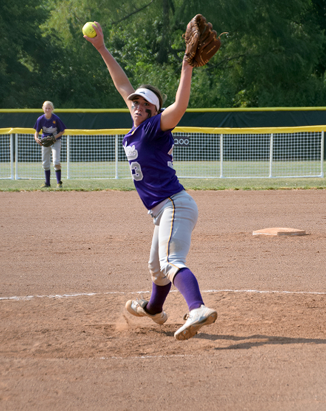 BRYCE MERENESS/Citizen photo North Platte senior pitcher Victoria Haugsness delivers a pitch against Lexington during the North Platte Invitational held Saturday, Aug. 22 at Dean Park in Dearborn, Mo.