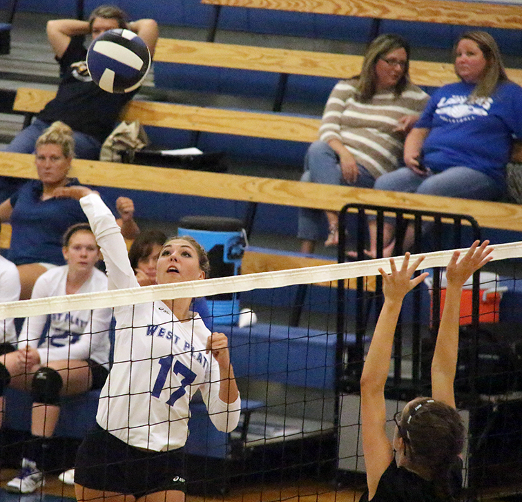ROSS MARTIN/Citizen photo West Platte junior outside hitter Jordan Schultz jumps for a spike during a match with Orrick on Thursday, Aug. 27 at West Platte High School in Weston, Mo.