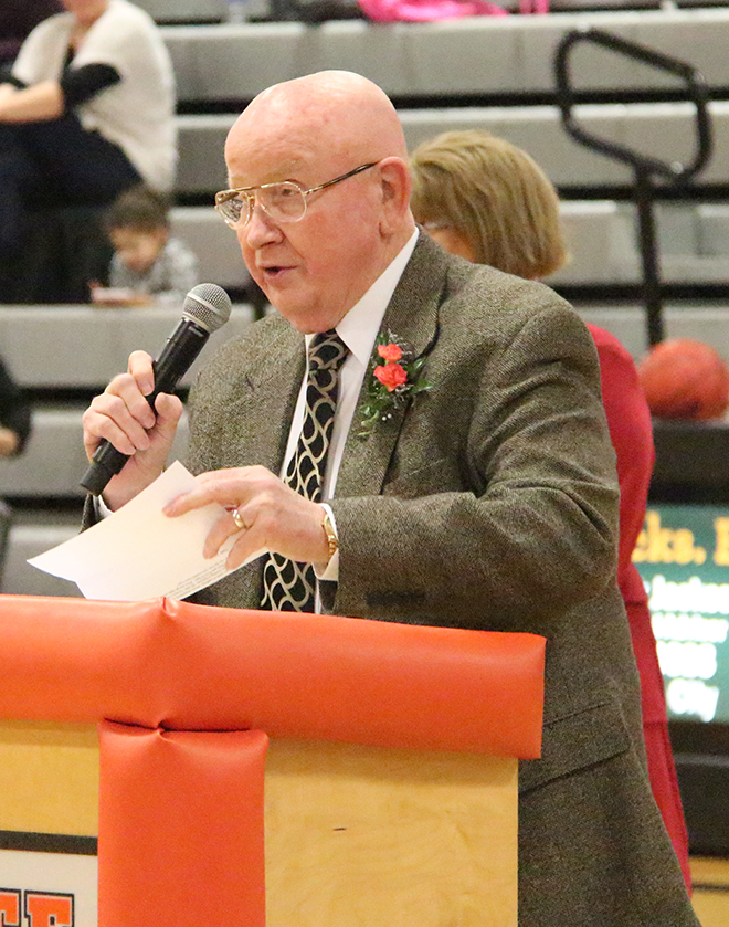 Wendell Doyle was inducted into the Pirate Hall of Fame during a ceremony on Friday, Feb. 27 at halftime of Platte County's boys basketball game at Platte County High School.