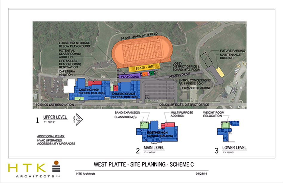 Submitted graphic An architects' rendering of the proposed site plan for the West Platte campus, which includes a new athletic stadium located to the north of the current site of Rudolph Eskridge Stadium that will be out for bid this spring. Other projects are pending board approval.