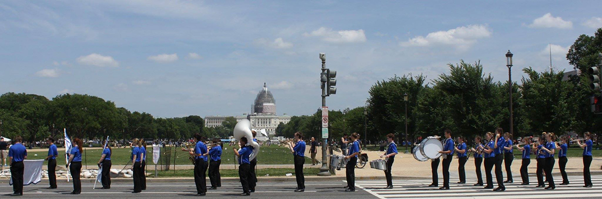Contributed photo The West Platte Marching Bluejays represented the state of Missouri in the National Memorial Day parade held May 25 in Washington, D.C. Members traveled with chaperones by bus.