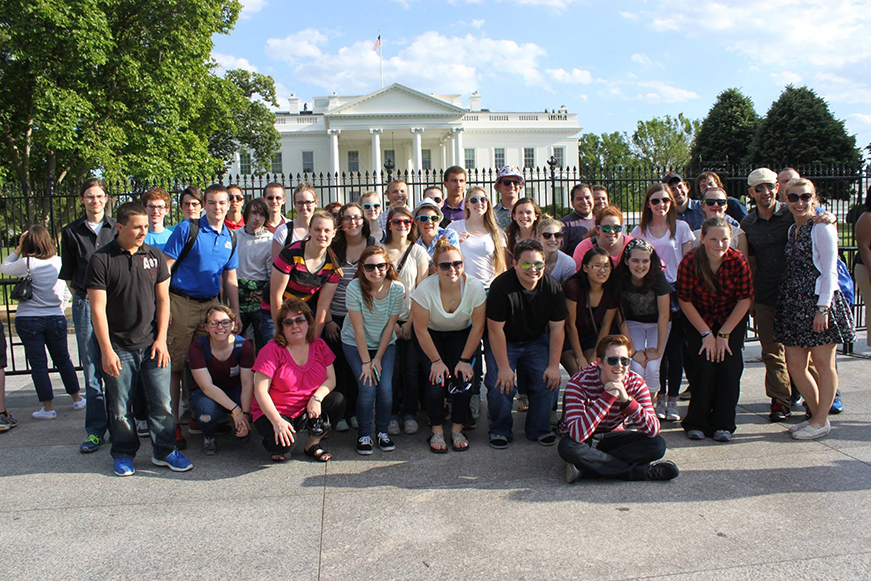 Contributed photo Members of the West Platte Marching Blue Jays pose for a picture in front of the White House while on a trip to represent the state of Missouri in the National Memorial Day parade held May 25 in Washington, D.C. Members traveled with chaperones by bus.