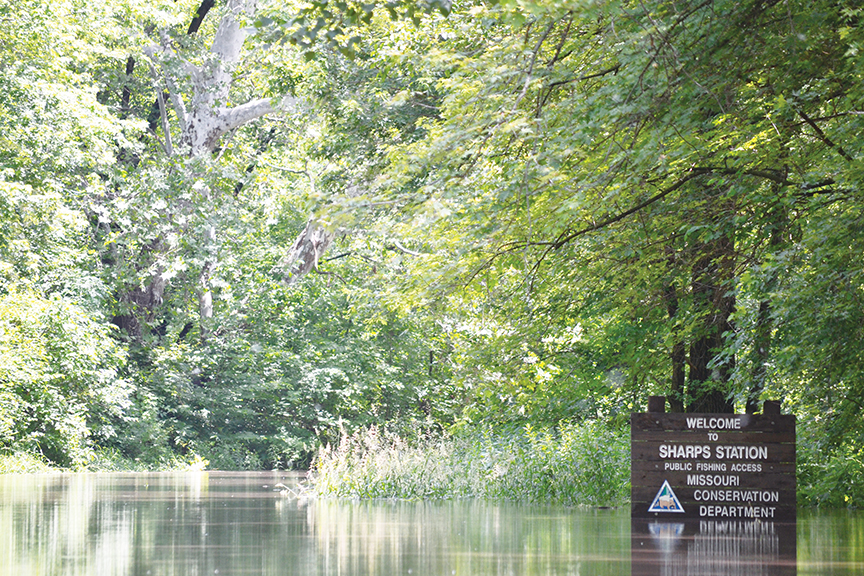 BRYCE MERENESS/Citizen photo The Platte River, seen here near Sharp's Station's public fishing access outside of Camden Point, Mo., reached moderate flood levels in early June due to continued heavy rains. Flooding issues became a common theme in 2015, starting in the first half of the year.