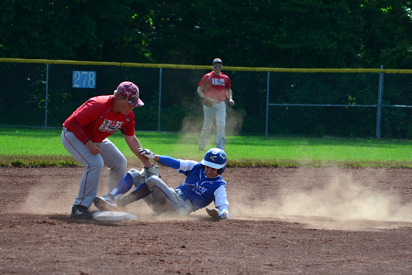 BRYCE MERENESS/Citizen photo West Platte junior Luke Horseman slides into second base on a stolen base attempt during West Platte's Class 2 quarterfinal against Miller on Wednesday, May 26 at Benner Park in Weston, Mo.