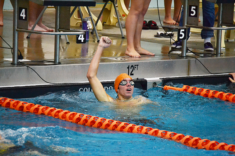 BRYCE MERENESS/Citizen photo Platte County's Jon Jeans reacts to seeing his winning time in the 100 breast stroke on Oct. 4 at Platte County Community Center North during the Pirate Invitational.