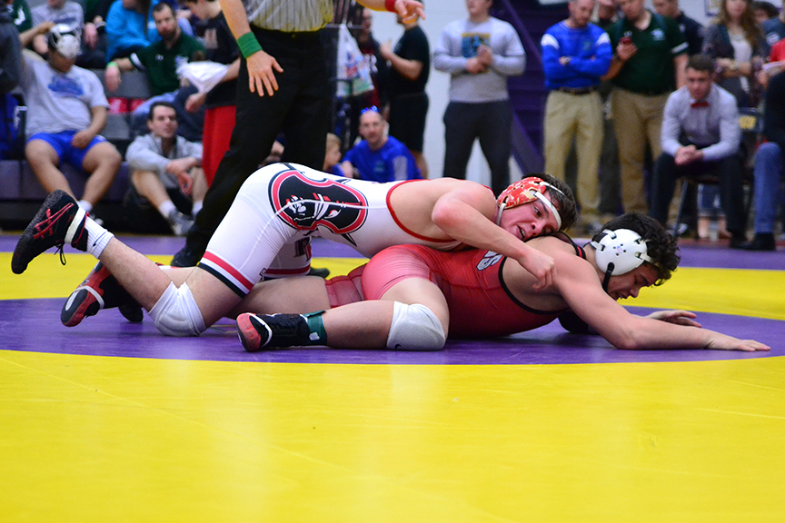 BRYCE MERENESS/Citizen photo Park Hill's Canten MaRriott, top, works against an opponent in the 152 pound championship of the Class 4 District 4 tournament on Saturday, Feb. 14 at Blue Springs High School in Blue Springs, Mo.