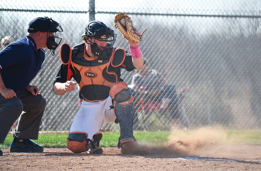 BRYCE MERENESS/Citizen file photo Platte County catcher Justin Mitchell picks a pitch in the dirt in a game against Park Hill South on Wednesday, April 1 at Park Hill South High School in Riverside, Mo.