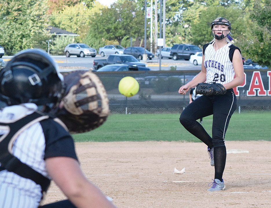 Citizen file photo Park Hill South junior pitcher Olivia Kinsey, right, delivers a pitch against Staley in the Class 4 District 16 championship game earlier this season.