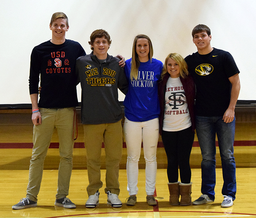 BRYCE MERENESS/Citizen photo Park Hill seniors, from left: Chris Nilsen, Sean Hosford, Amanda Alexander, Hayleigh Robinson and Canten Marriott all recently committed to continue their athletic careers in college.