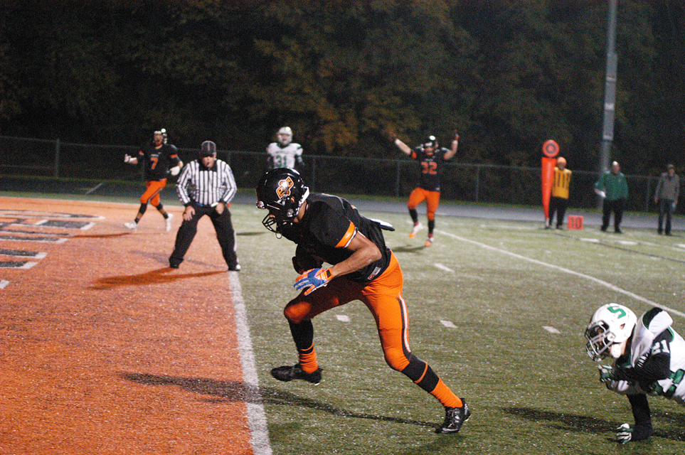 Platte County's Aliek Reed scored one of this three touchdowns on this play in the fourth quarter, but the Pirates were still spooked by Smithville 40-32 on Halloween night at Pirates stadium
