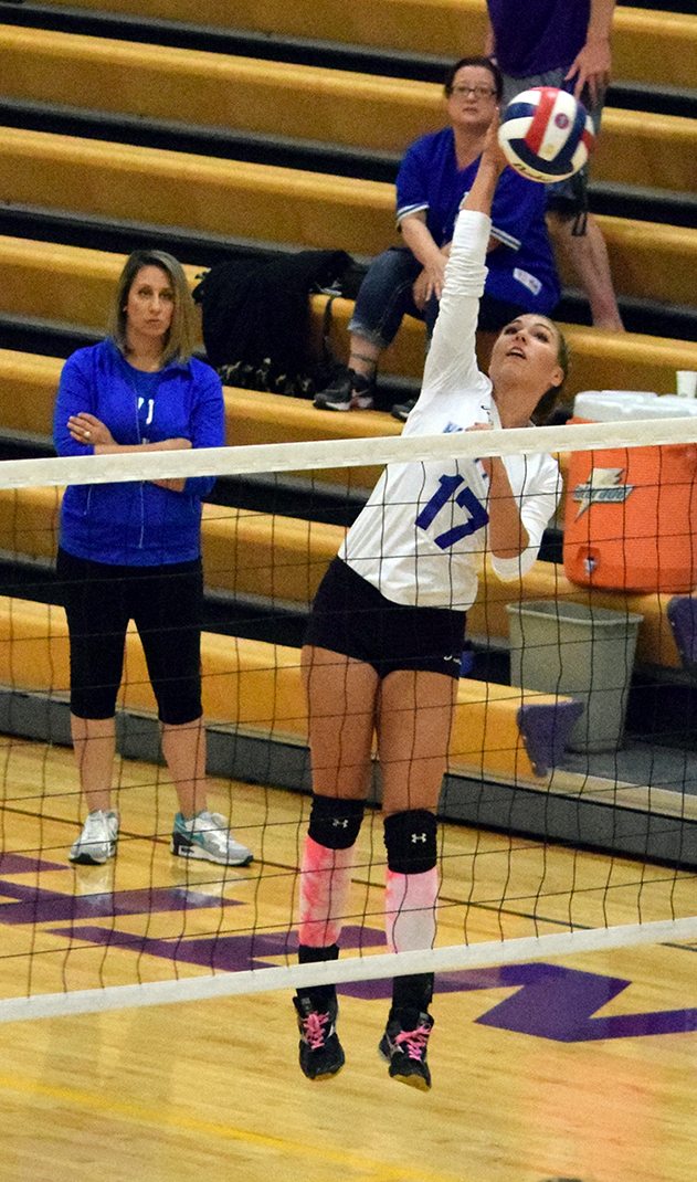 BRYCE MERENESS/Citizen photo West Platte junior outside hitter Jordan Schultz hits a spike during the Class 1 District 15 opening round games on Monday, Oct. 19 at North Platte High School in Dearborn, Mo.