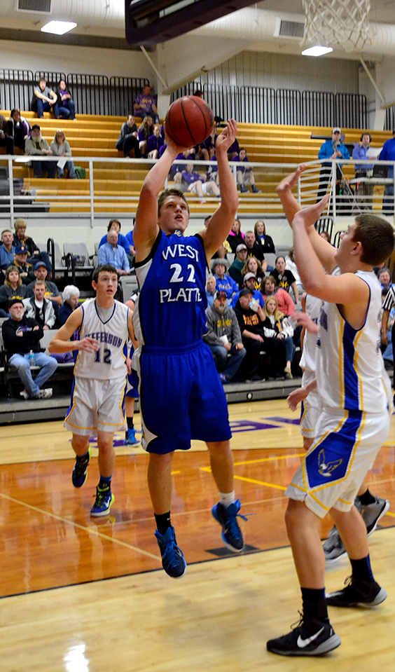 BRYCE MERENESS/Citizen photo West Platte forward Brett Shepardson (22)  goes up with a shot against Jefferson in the third place game of the North Platte Invitational on Saturday, Jan. 31 at North Platte High School in Dearborn, Mo.