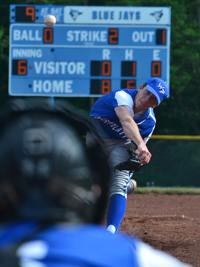 BRYCE MERENESS/Citizen photo West Platte junior McKaulley Stephenson delivers a pitch during the sixth inning of West Platte's Class 2 quarterfinal against Miller on Wednesday, May 26 at Benner Park in Weston, Mo.
