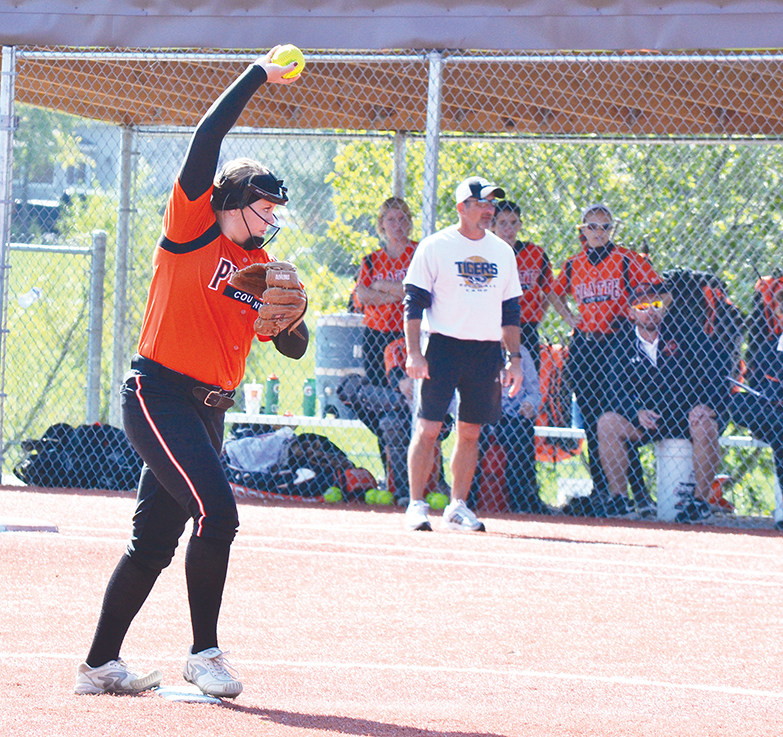 BRYCE MERENESS/Citizen photo Platte County senior Mallory Stoner delivers a pitch against Excelsior Springs in the Class 3 District 15 championship game Saturday at Excelsior Springs High School.