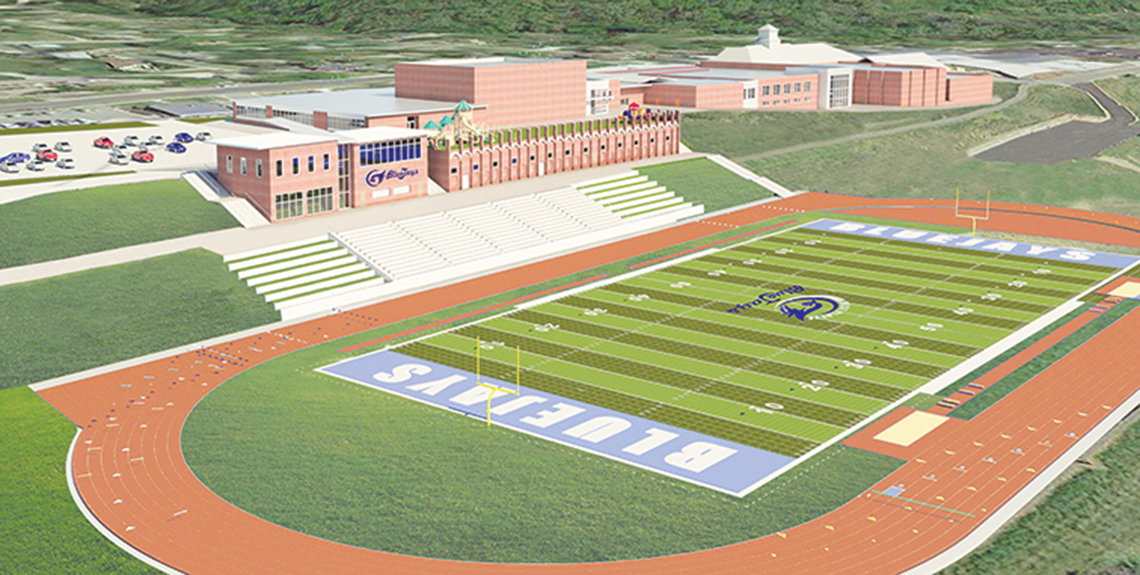 Submitted graphic An artist's rendering of a proposed athletic facility to be built on the West Platte School District campus. The football stadium, field and track are the biggest piece of a master plan, and this first part could be completed as early as fall of 2017. The new stadium will put the football and track facilities together and be located on the site of the current track and football practice field, located just to the north of Rudolph Eskridge Stadium's current location.