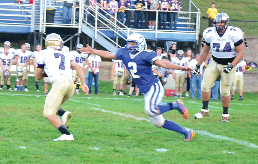 BRYCE MERENESS/Citizen file photo West Platte linebacker Brett Shepardson (2) chases down North Platte quarterback Anthony Hernandez (7) in a game Sept. 19 at Rudolph Eskridge Stadium in Weston Mo. Shepardson, a junior, made appearances on the Missouri media and Missouri Football Coaches Association all-state teams