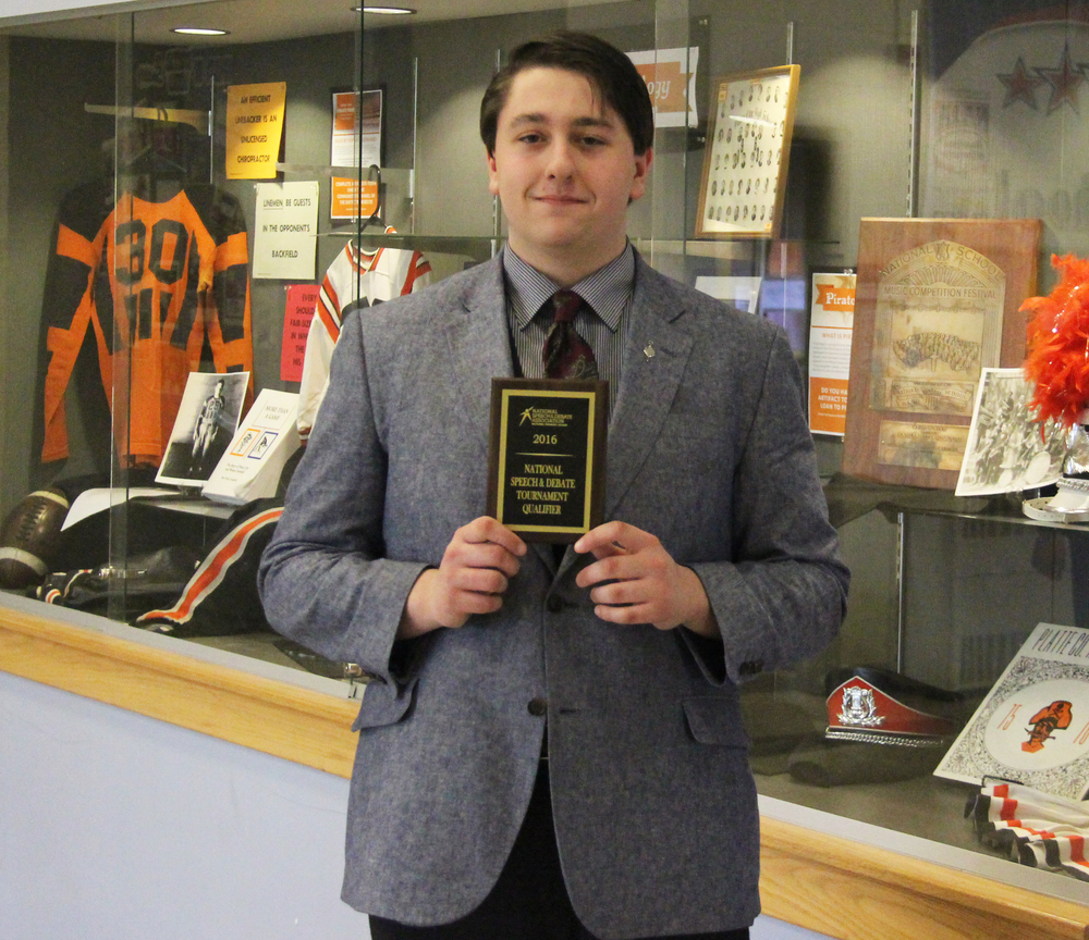 ROSS MARTIN/Citizen photo Platte County sophomore John Klingele recently qualified for the National Speech and Debate Association's national tournament, the first qualifier for the Pirates since 2009.