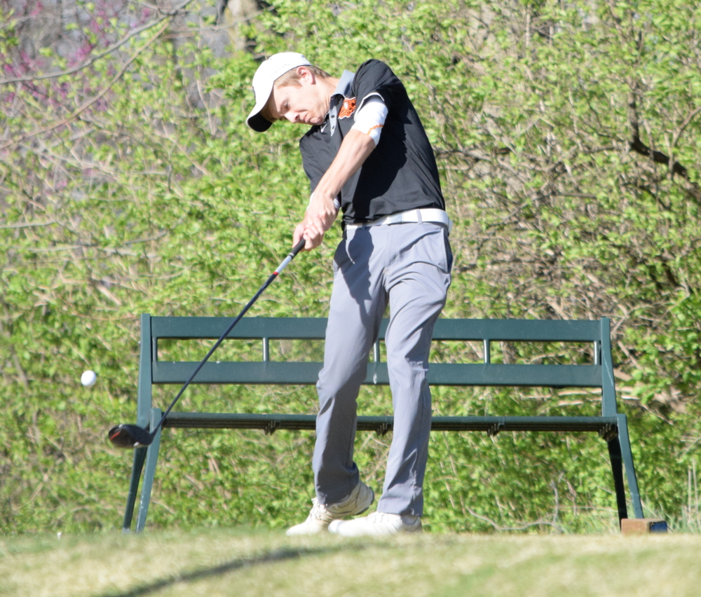 BRYCE MERENESS/Citizen photo Platte County's Payton Boekhout hits a tee shot on the par-4 No. 7 on Monday, March 28 at Shiloh Springs Golf Course.