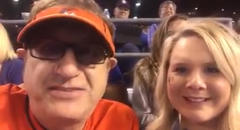 Facebook.com On Opening Day at Kauffman Stadium, Laurence Leavy (left), a Miami-based lawyer known as Marlins Man for the distinctive orange baseball jersey he wears while attending high-profile sporting events, recorded a video message for Landon with Kayla Parker (right). The Jaros family has received dozens of videos since Landon's diagnosis, playing them for him during his current stay at Children's Mercy Hospital.