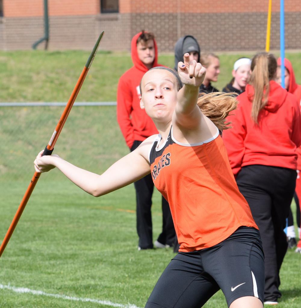 BRYCE MERENESS/Citizen photo Platte County freshman Jaycie Stubbs prepares to throw a javelin during the Platte County Flight Night held Friday, April 1 at Platte County High School. Stubbs set the school record in the trial event with a 97-foot, 5-inch heave.