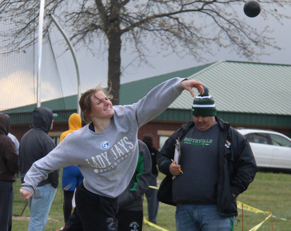 ROSS MARTIN/Citizen photo West Platte junior Sydney Oberdiek watches one of her efforts in the shot put during the Smithville Invitational Friday, April 1 at Smithville High School in Smithville, Mo. She finished fourth.