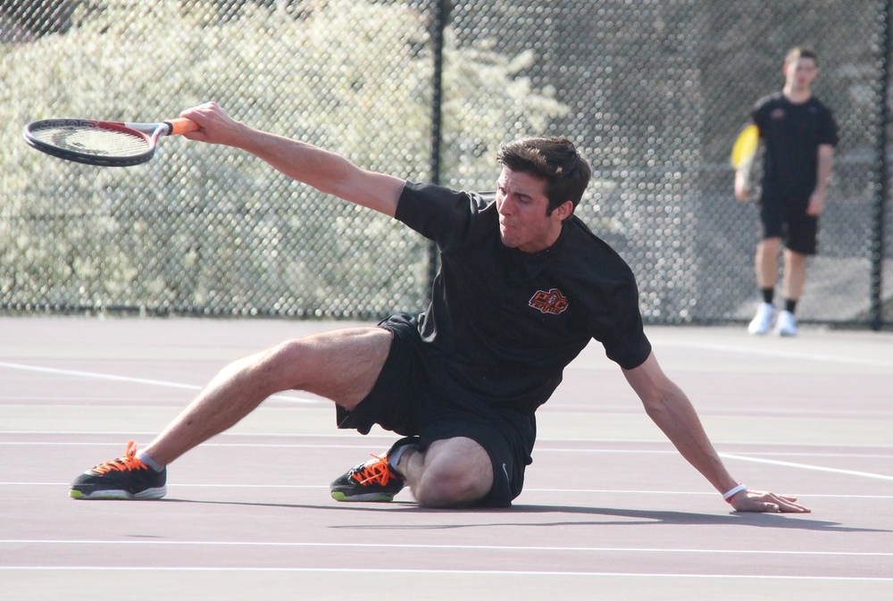 ROSS MARTIN/Citizen photo Platte County senior Josh Timmons hits a backhand in a No. 2 singles match Thursday, March 31 at Winnetonka High School in Kansas City, Mo.