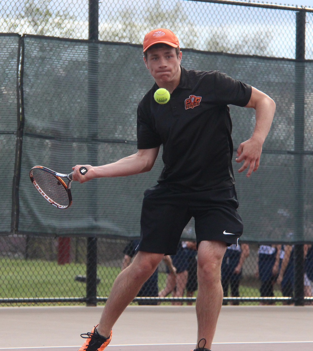 ROSS MARTIN/Citizen photo Platte County junior Spencer Kunz prepares to hit a forehand shot in a No. 1 singles match against Winnetonka's Collin Monsees during a dual Thursday, March 31 at Winnetonka High School in Kansas City, Mo.