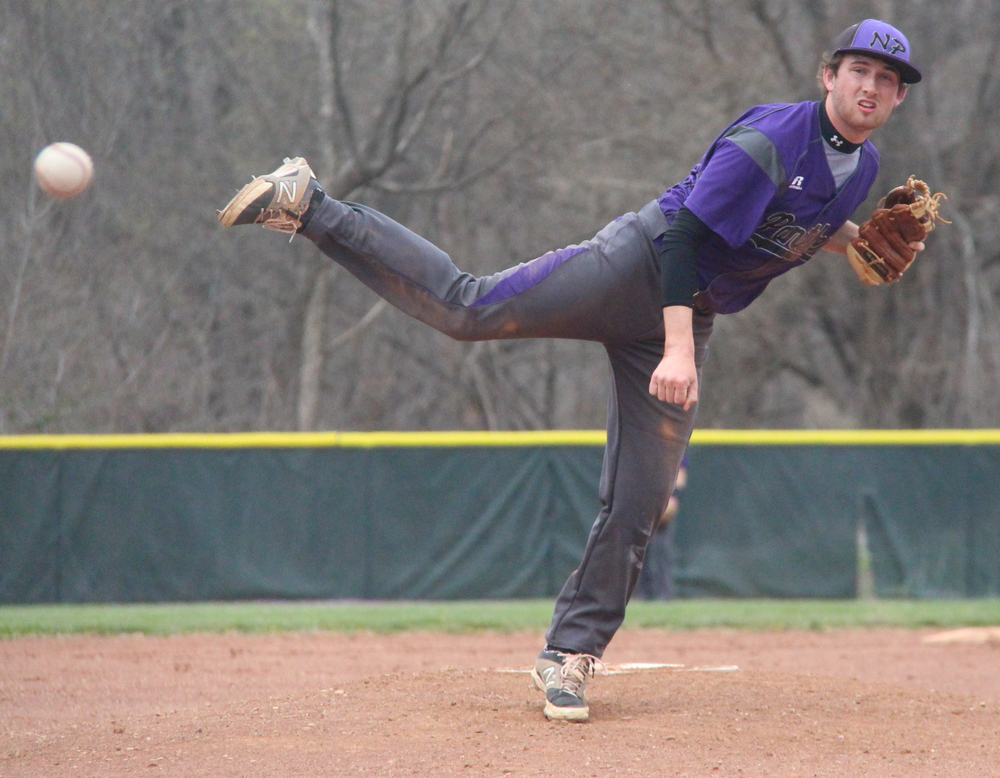 ROSS MARTIN/Citizen photo North Platte senior Blake Toliver delivers a pitch against West Platte on Wednesday, March 30 at Dean Park in Dearborn, Mo.