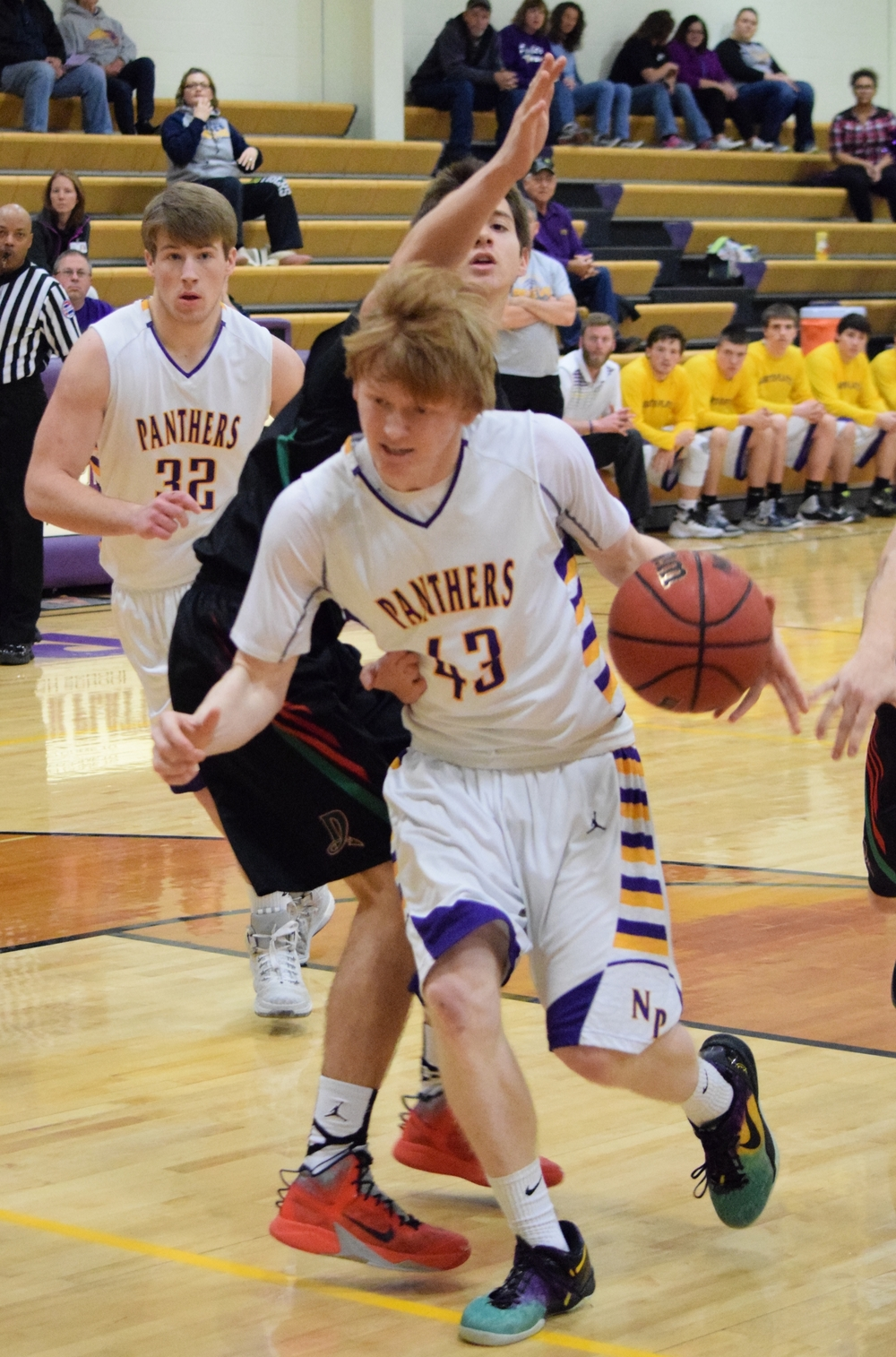 BRYCE MERENESS/Citizen file photo North Platte senior guard Andrew Roberts drives to the basket against Mid-Buchanan in the championship game of the North Platte Invitational. The Panthers won their home tournament for the first time since 2007.