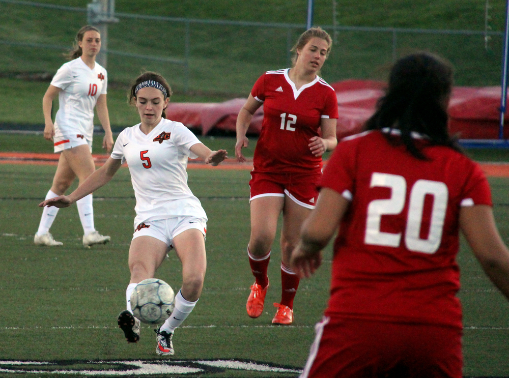 ROSS MARTIN/Citizen photo Platte County freshman defender Madeline Donnelli (5) makes a clearance against Raytown South on Thursday, April 7 at Pirate Staidum, while teammate Calle Boe (10) keeps a watchful eye. Both players are first-year starters on the back line for the Pirates.