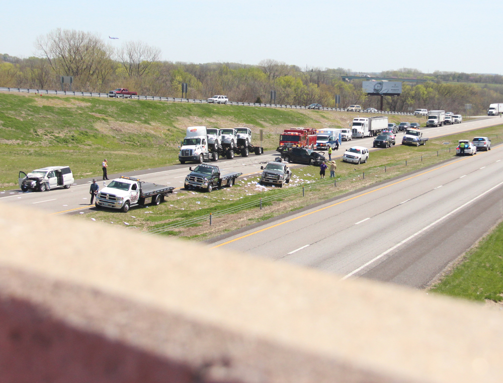 ROSS MARTIN/Citizen photo A second crash occurred Thursday, April 14 in the northbound lanes of Interstate 29 as one vehicle ran into two others stopped due to backup from the fatality accident that occurred about a half hour earlier in the southbound lanes.