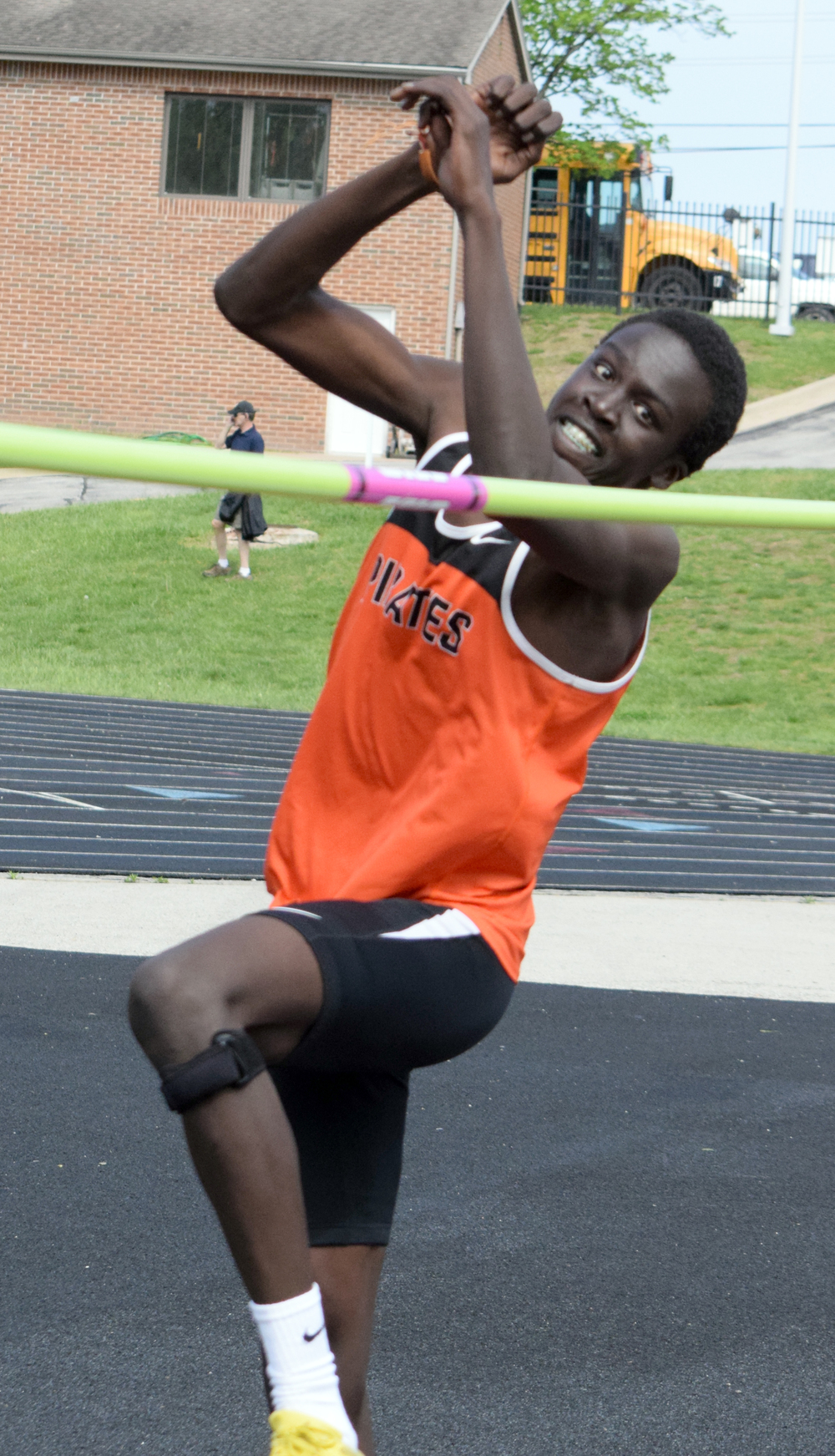 BRYCE MERENESS/Citizen photo Platte County junior Mac Leet prepares to approach the high jump bar at the Platte County invitational held Tuesday, April 26 at Pirate Stadium.