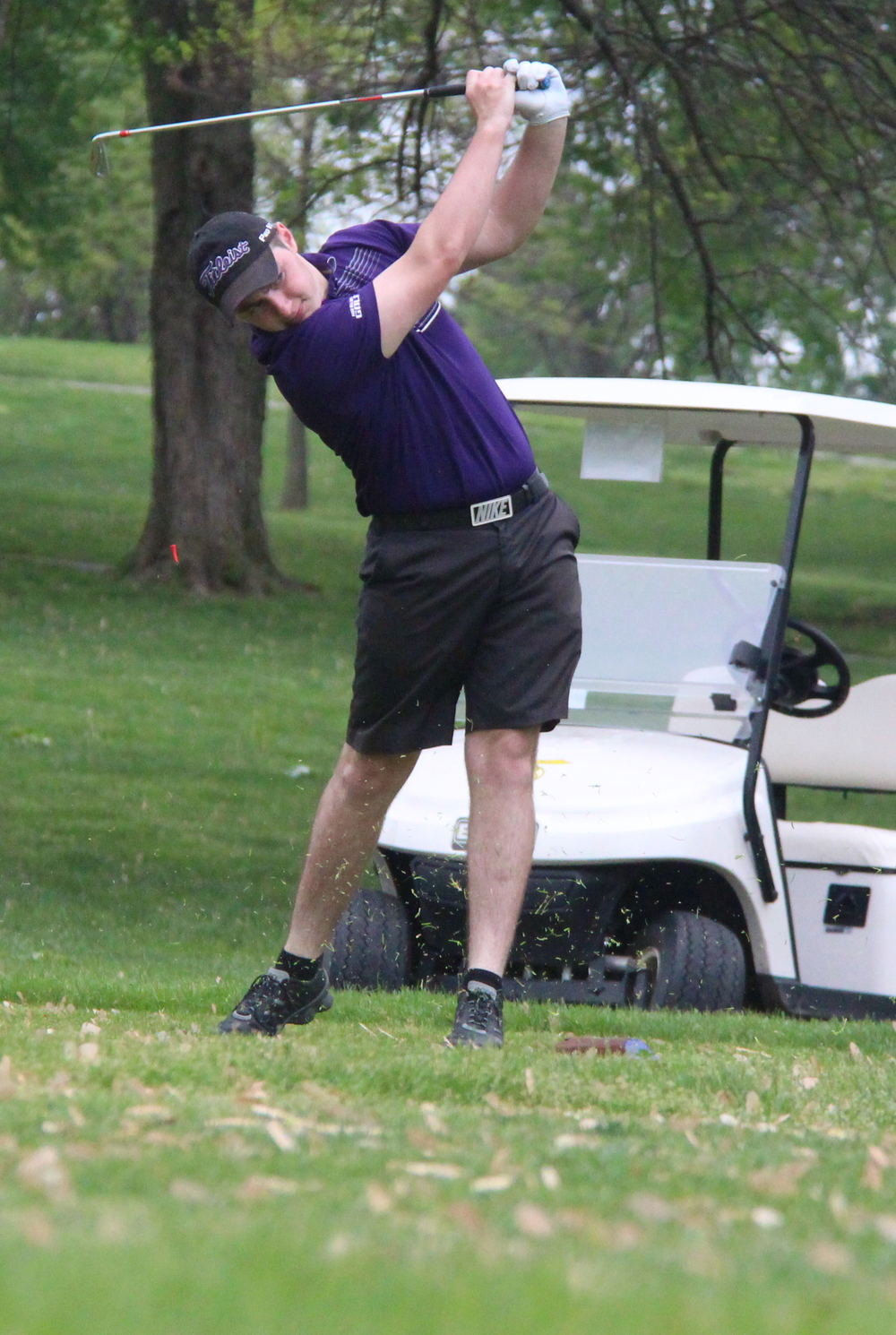 ROSS MARTIN/Citizen photo Park Hill South senior Tanner Owen his a tee shot during the Suburban conference Red Division Championships held Monday, April 25 at Moila Country Club in St. Joseph, Mo.