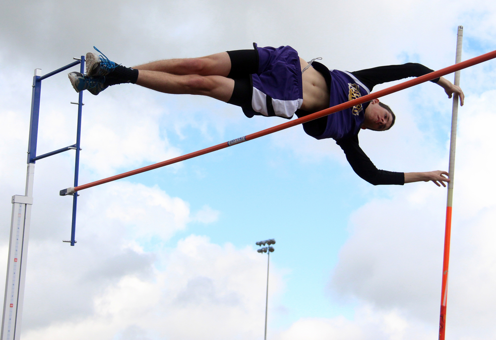 ROSS MARTIN/Citizen photo North Platte senior Eric Brown clears the bar during the pole vault competition in the KCI Conference Meet held Saturday, April 30 at Lathrop High School in Lathrop, Mo.