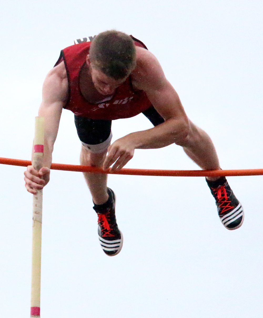 ROSS MARTIN/Citizen photo Park Hill's Chris Nilsen clears the bar in the pole vault competition during the 2015 Class 5 Missouri State Track and Field Championships at Dwight T. Reed Stadium in Jefferson City, Mo.