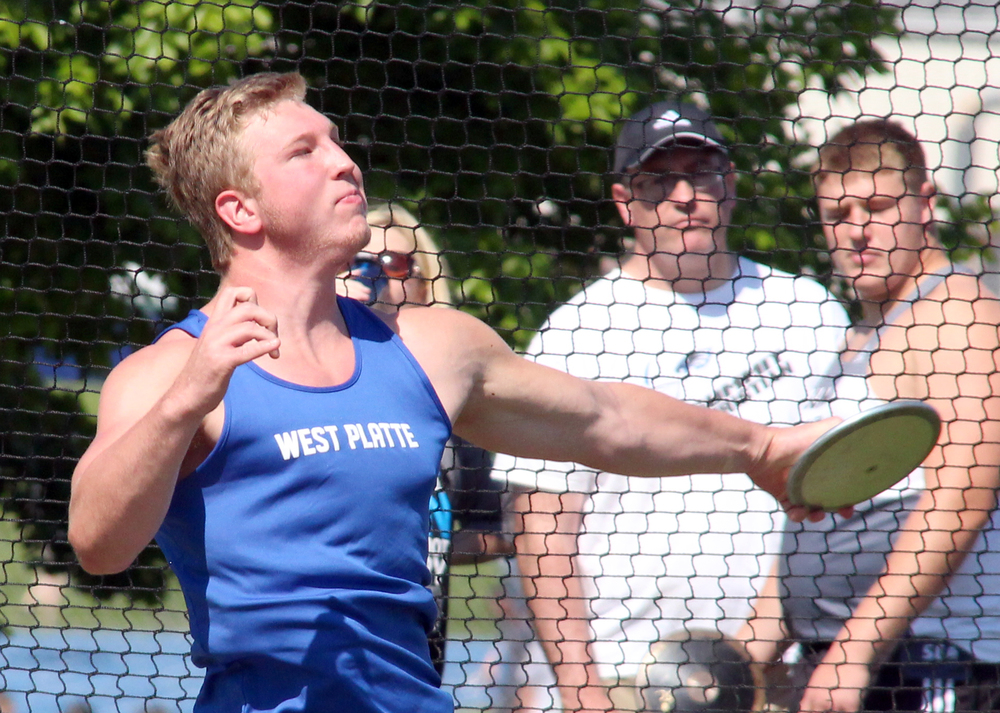 ROSS MARTIN/Citizen photo West Platte's Cameron Johnson throws the discus during the Class 2 District 7 meet held Saturday, May 7 at Sam Duncan Field in Higginsville, Mo.