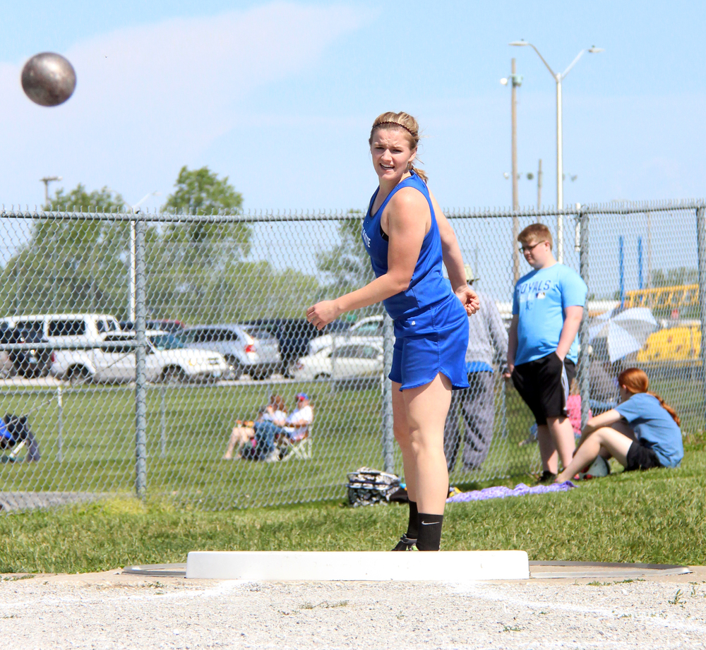 ROSS MARTIN/Citizen photo West Platte junior Sydney Oberdiek watches one of her shot put attempts Saturday, May 7 in the Class 2 District 7 meet held at Sam Duncan Field in Higginsville, Mo.
