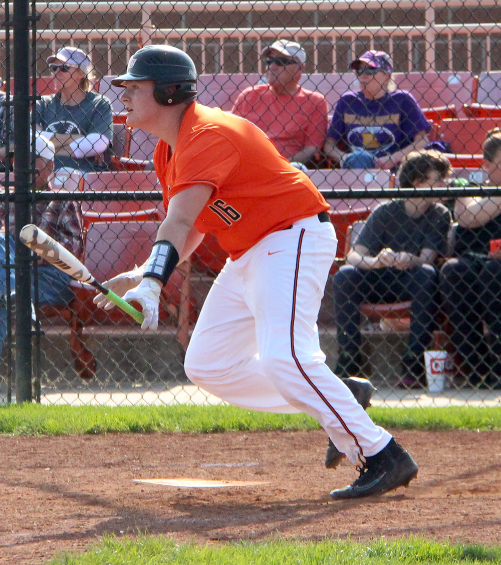 ROSS MARTIN/Citizen photo Platte County sophomore Austin Gammill watches his fourth inning single as he drops the bat Thursday, May 5 against Kearney at Platte County High School.
