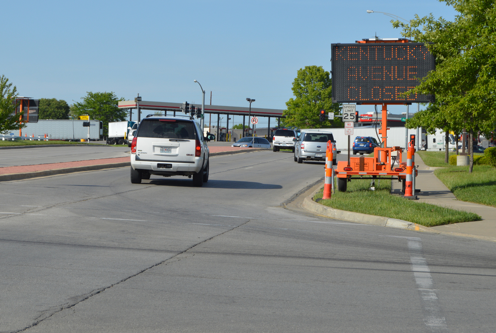 BRENT ROSENAUER/Citizen photo Digital signs and cones have started to go up along a short stretch of Highway 92 in Platte City. Construction will begin on Monday, May 16 and will last at least 180 days. The work will casue lane reductions and closures of side streets.