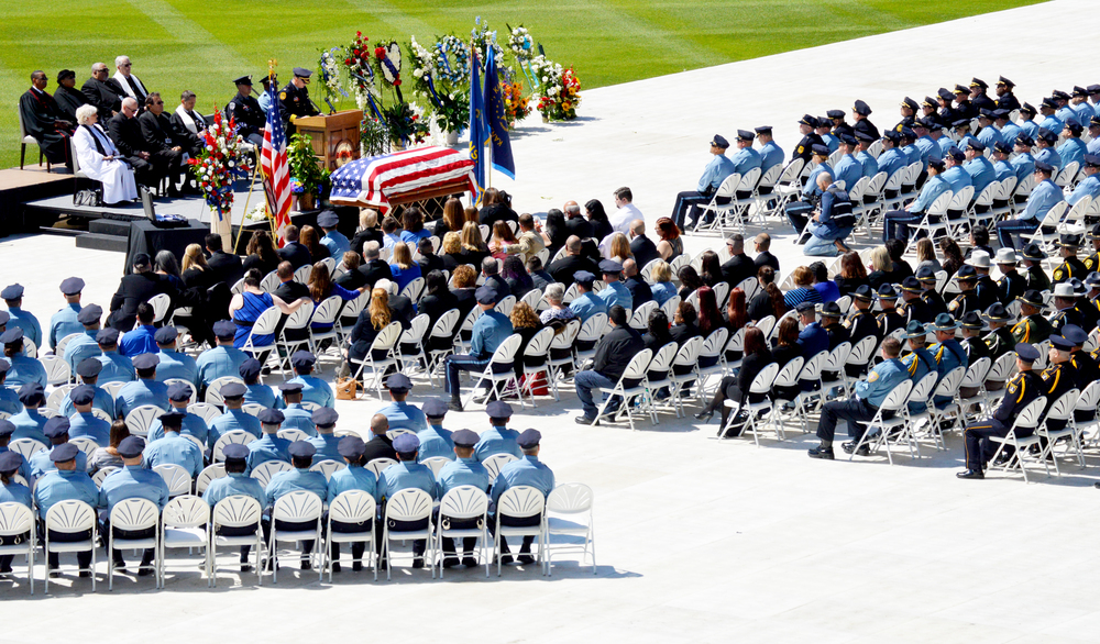 BRENT ROSENAUER/Citizen photo A memorial service for Kansas City (Kan.) Police Department detective Brad Lancaster was held Saturday, May 14 at Children's Mercy Park in Kansas City, Kan. Lancaster, 39, died in the line of duty earlier in the week.