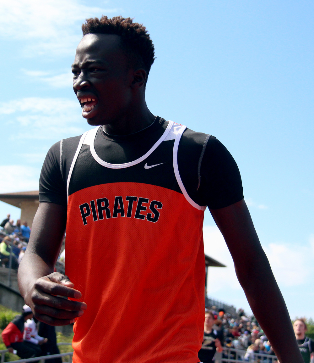 ROSS MARTIN/Citizen photo Platte County's Okwar Jale catches his breath after winning the 300-meter hurdles during the Class 4 District 8 meet held Saturday, May 14 in Excelsior Springs, Mo.