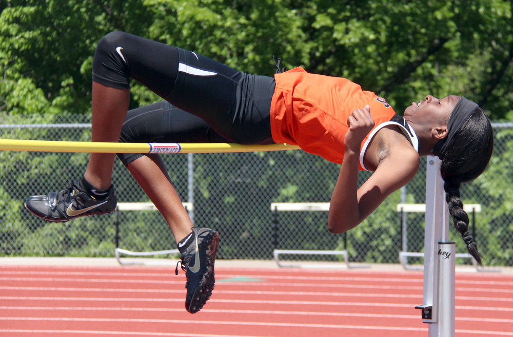 ROSS MARTIN/Citizen photo Platte County sophomore Tianna Daniel-Dalton takes an attempt in the high jump during the Class 4 District 8 meet Saturday, May 14 at Excelsior Springs High School in Excelsior Springs, Mo.