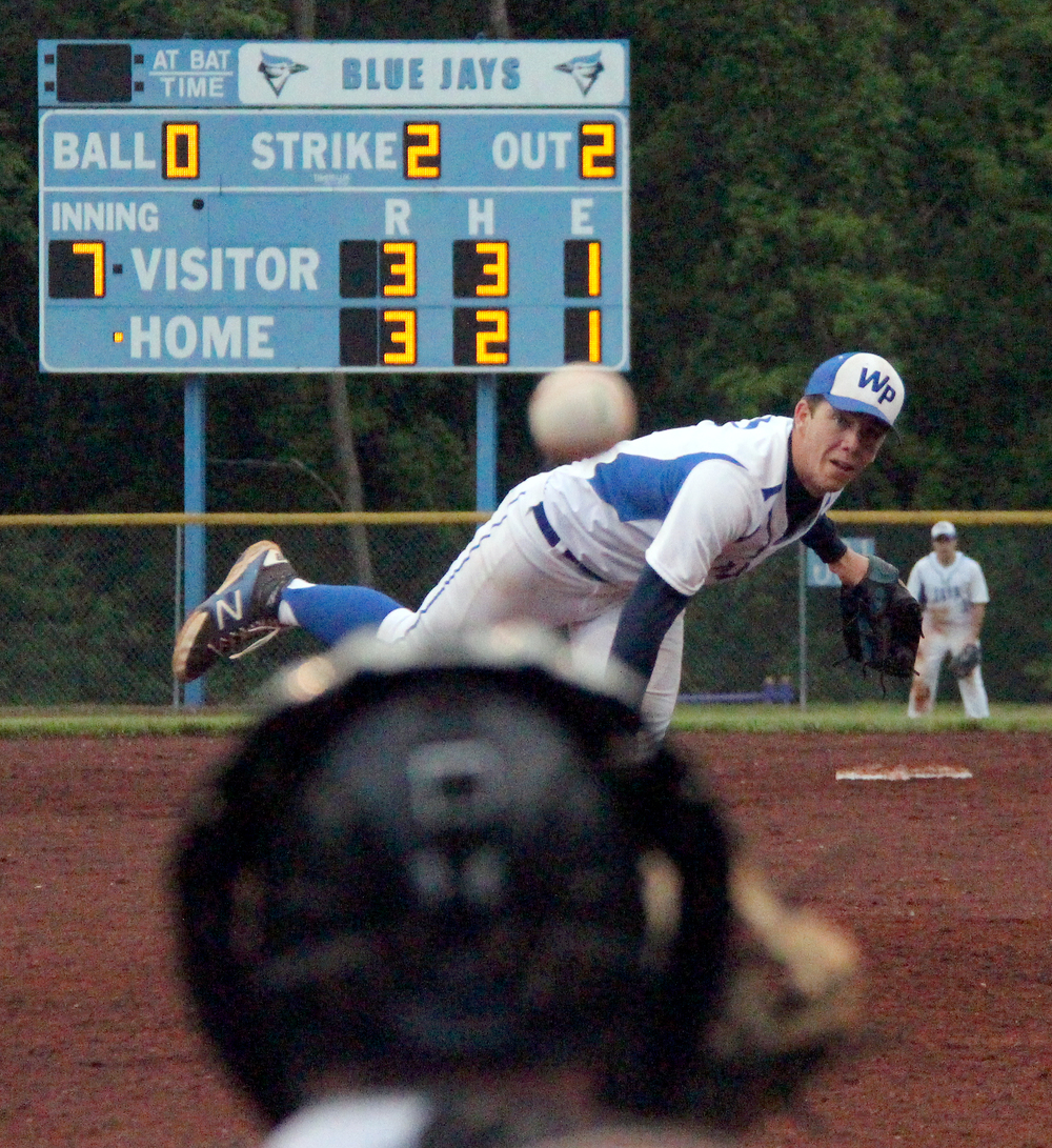 ROSS MARTIN/Citizen photo West Platte senior McKaulley Stephenson delivers a pitch in the bottom of the seventh inning Thursday, May 19 against Mid-Buchanan in the Class 2 District 16 championship game at Benner Park in Weston, Mo.
