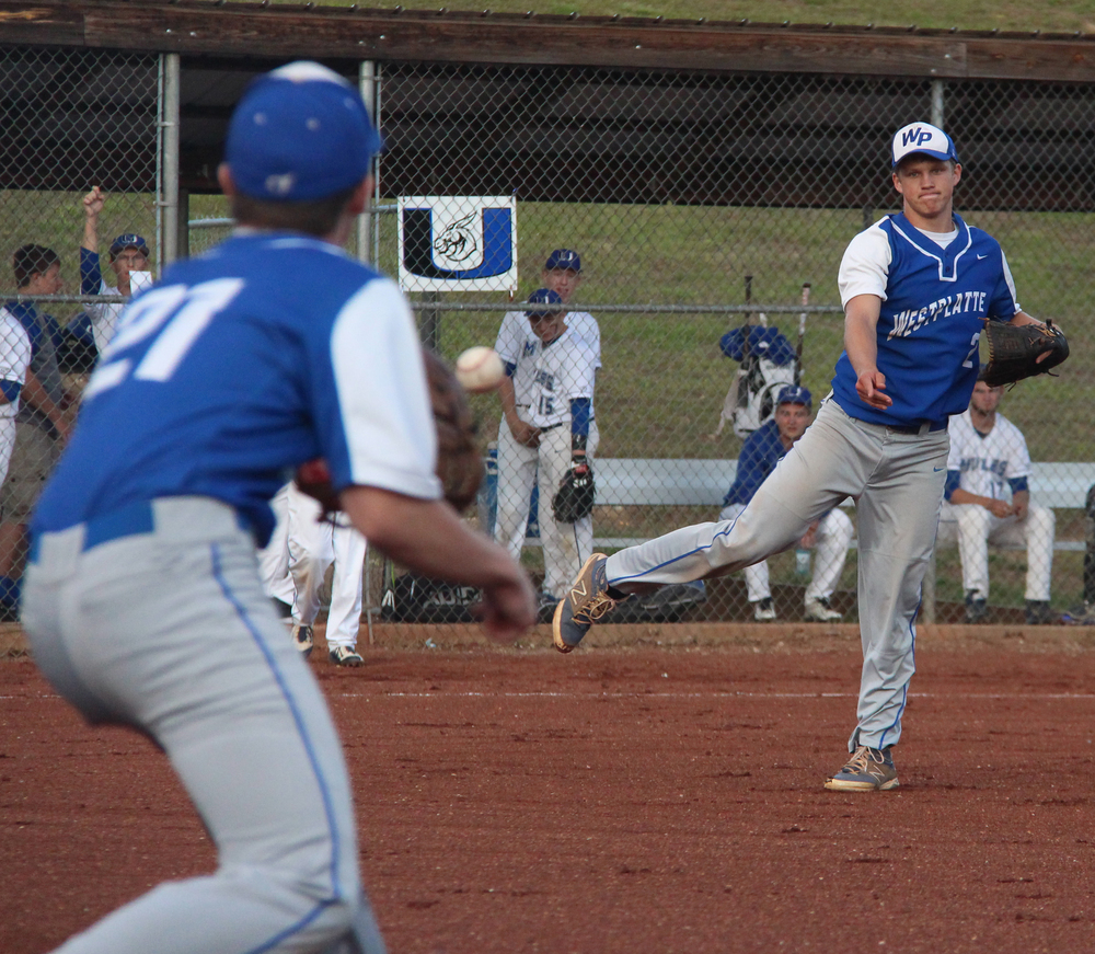 ROSS MARTIN/Citizen photo West Platte senior pitcher Brett Shepardson, right, makes a throw to first baseman Jack Summers during a Class 2 District 16 semifinal against Lone Jack on Wednesday, May 18 at Benner Park in Weston, Mo.